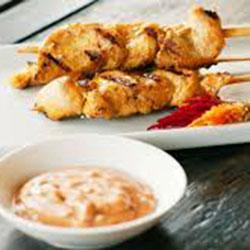 Satay chicken skewer with peanut sauce thumbnail