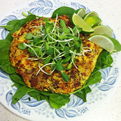 Quinoa, mushroom and spinach omelette thumbnail