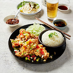 Salt and pepper chicken ribs in rice thumbnail