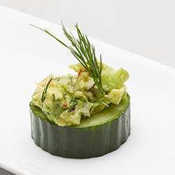 Cucumber cup with mashed avocado thumbnail