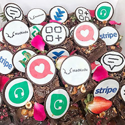 Cupcake with edible logo thumbnail