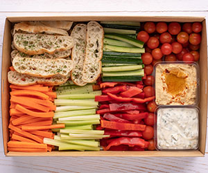 Vegetable crudities and dips platter thumbnail