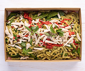Creamy penne pesto and poached chicken salad thumbnail