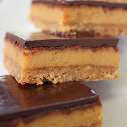 Dark chocolate and caramel slice thumbnail