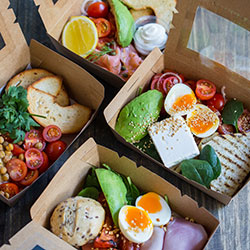 Smoked salmon and herb toasted bagel breakfast box thumbnail