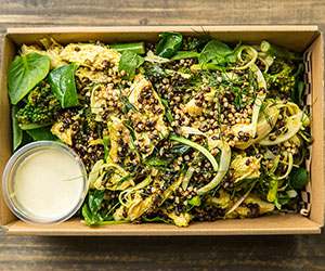 Poached chicken and black barley salad thumbnail