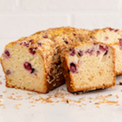 Pear, raspberry and coconut loaf thumbnail