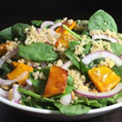 Roast pumpkin, quinoa and baby spinach salad thumbnail