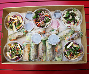 Mixed rice paper roll and salads box thumbnail