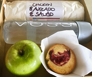 Sandwich, fruit, muffin and juice thumbnail