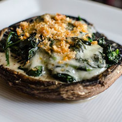 Mushroom topped with feta, shark bay crab meat and spinach thumbnail