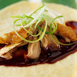 Peking duck pancake with spring onion, cucumber and hoisin sauce thumbnail