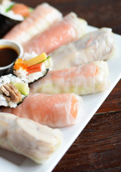 Rice paper rolls filled with teriyaki chicken thumbnail
