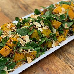 Roasted pumpkin, spinach and pine nut salad thumbnail
