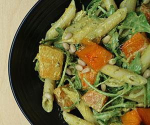 Pumpkin, pesto and pine nut pasta salad thumbnail