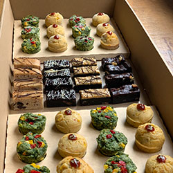 Vegan savoury and brownie petit four box thumbnail