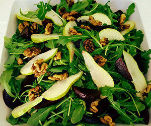 Beetroot, pear, rocket and walnut salad thumbnail