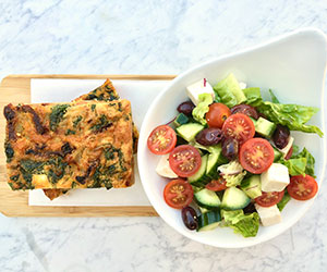 Frittata and greek salad  thumbnail