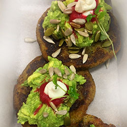 Corn and broccoli fritters with avocado thumbnail