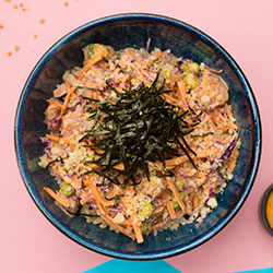 Spicy poached chicken poke bowl thumbnail