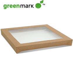 Rectangular catering tray lid - centred transparent thumbnail