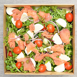 Smoked salmon, bocconcini, cherry tomato and rocket salad thumbnail