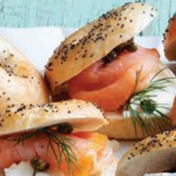 Smoked salmon and cream cheese bagel - mini thumbnail