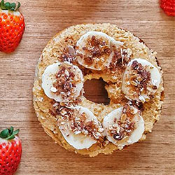 Banana and peanut butter open bagel - mini thumbnail