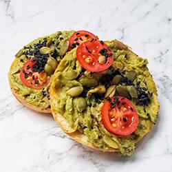 Smash avo open bagel - mini thumbnail