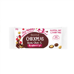 Happy snack chocolate and raspberry coated chickpeas thumbnail