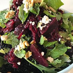 Black rice, beetroot, feta and walnut salad thumbnail