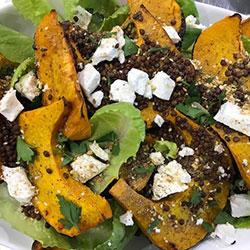 Roast pumpkin, lentil, goats cheese and dukkah salad thumbnail
