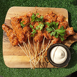 Dukka spice coated Chicken skewers thumbnail