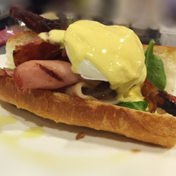 Bacon and egg breakfast baguette thumbnail