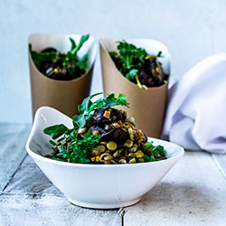 Mushroom and lentil salad thumbnail