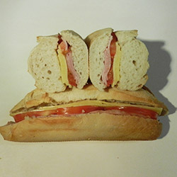 Ham, cheese and tomato baguette roll - mini thumbnail
