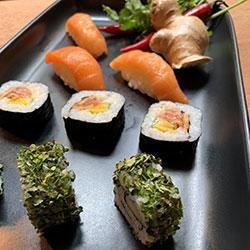 Assorted sushi, hand rolls and nigiri thumbnail
