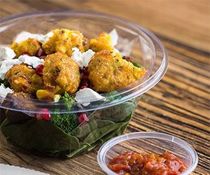 Corn fritter and feta salad thumbnail