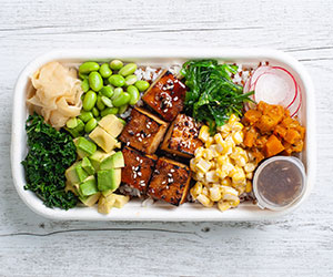 Sweet soy tofu poke bowl thumbnail